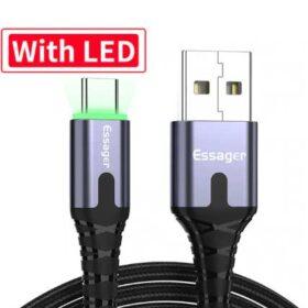 Кабел USB към Type C 25 сантиметра с Led подсветка